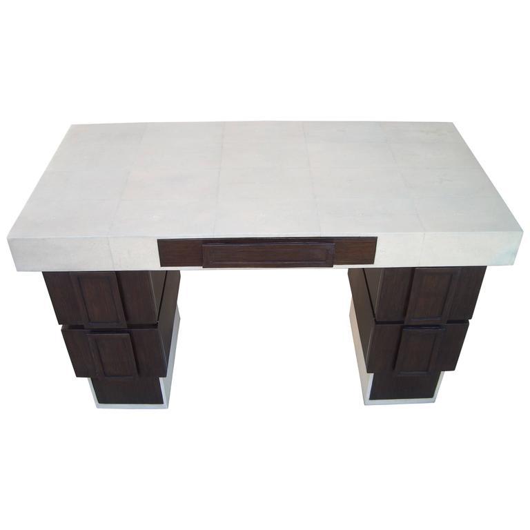 R & Y Augousti, Paris Shagreen and Wenge Desk or Table, Label