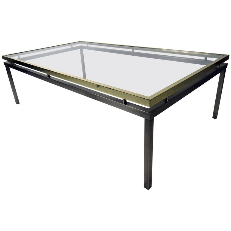 Mastercraft Coffee Table with Floating Brass and Glass Top For Sale