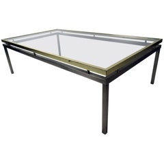 Vintage Mastercraft Coffee Table with Floating Brass and Glass Top
