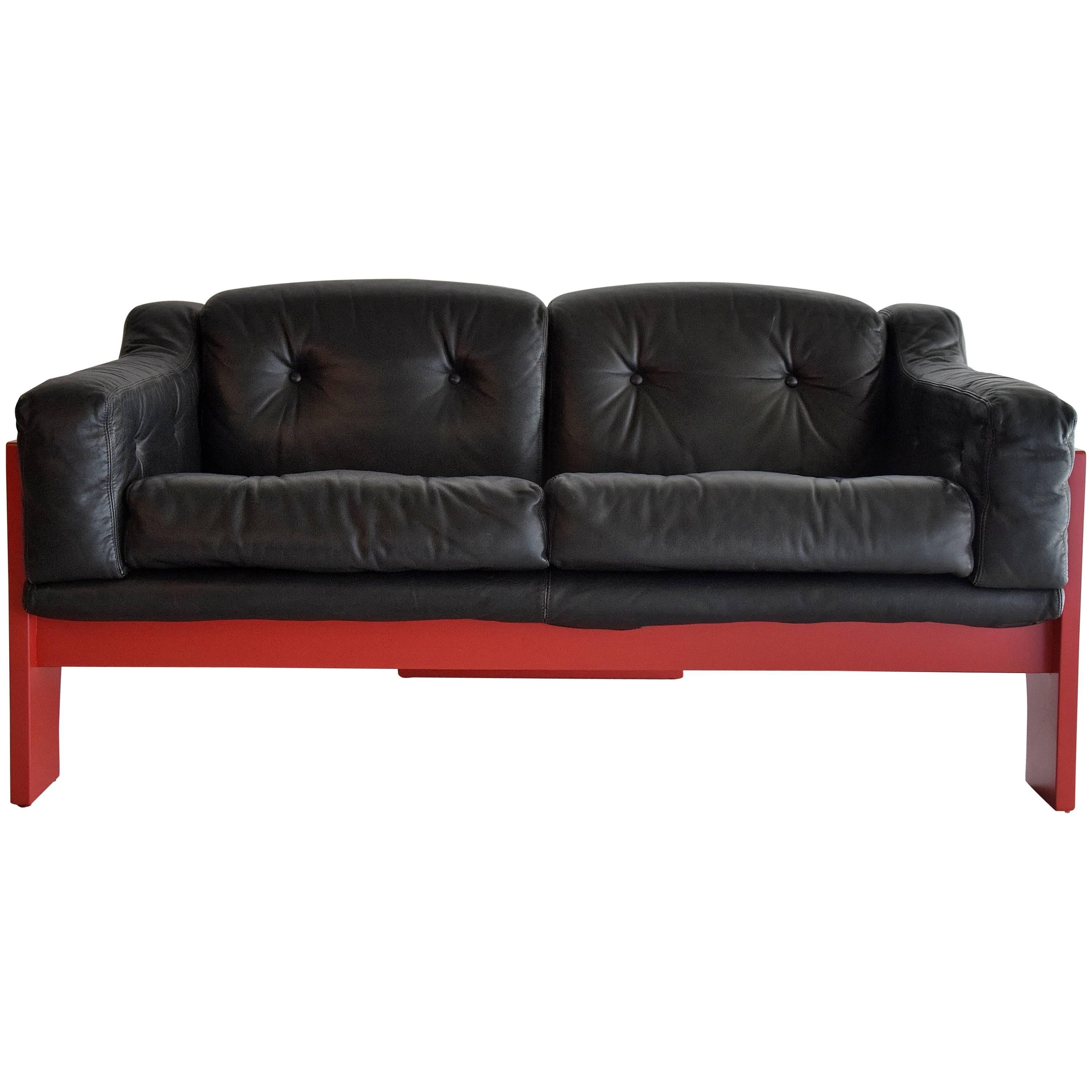 Mid Century Red and Black Sofa by Claudio Salocchi for Sormani