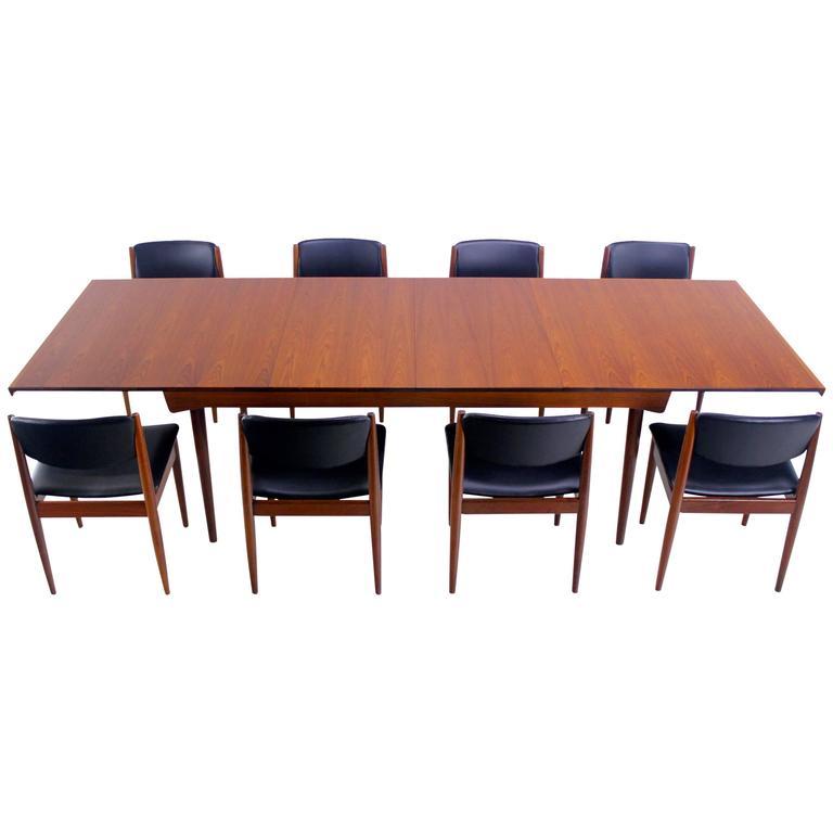 Danish modern teak dining set designed by finn juhl at 1stdibs - Scandinavian teak dining room furniture design ...