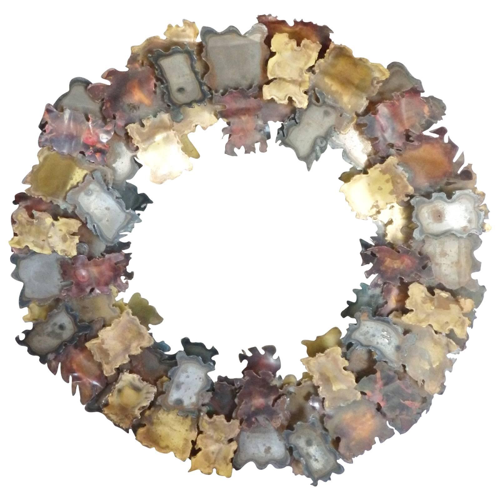 C. Jere torch cut copper brass steel autumn leaves round mirror