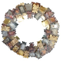 Jere Brutalist Style Autumn Leaves Round Mirror