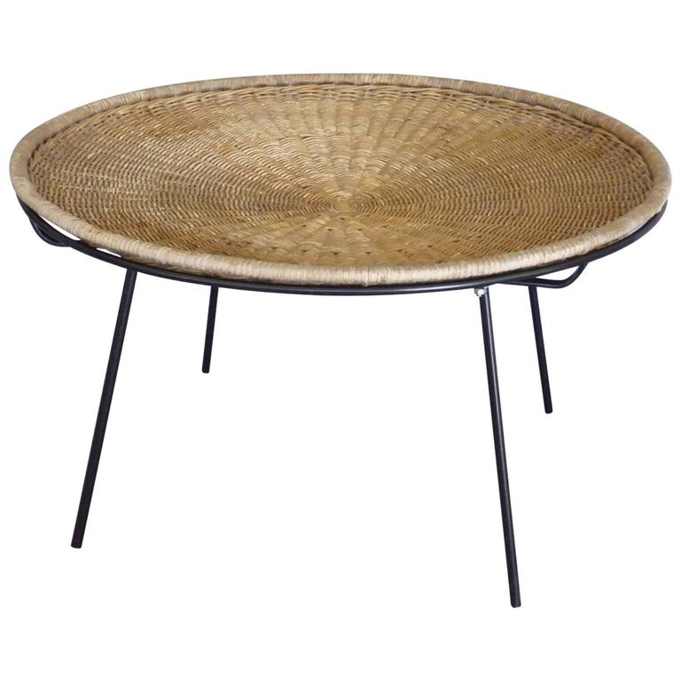 Rattan on Wrought Iron Catch All Coffee Table For Sale