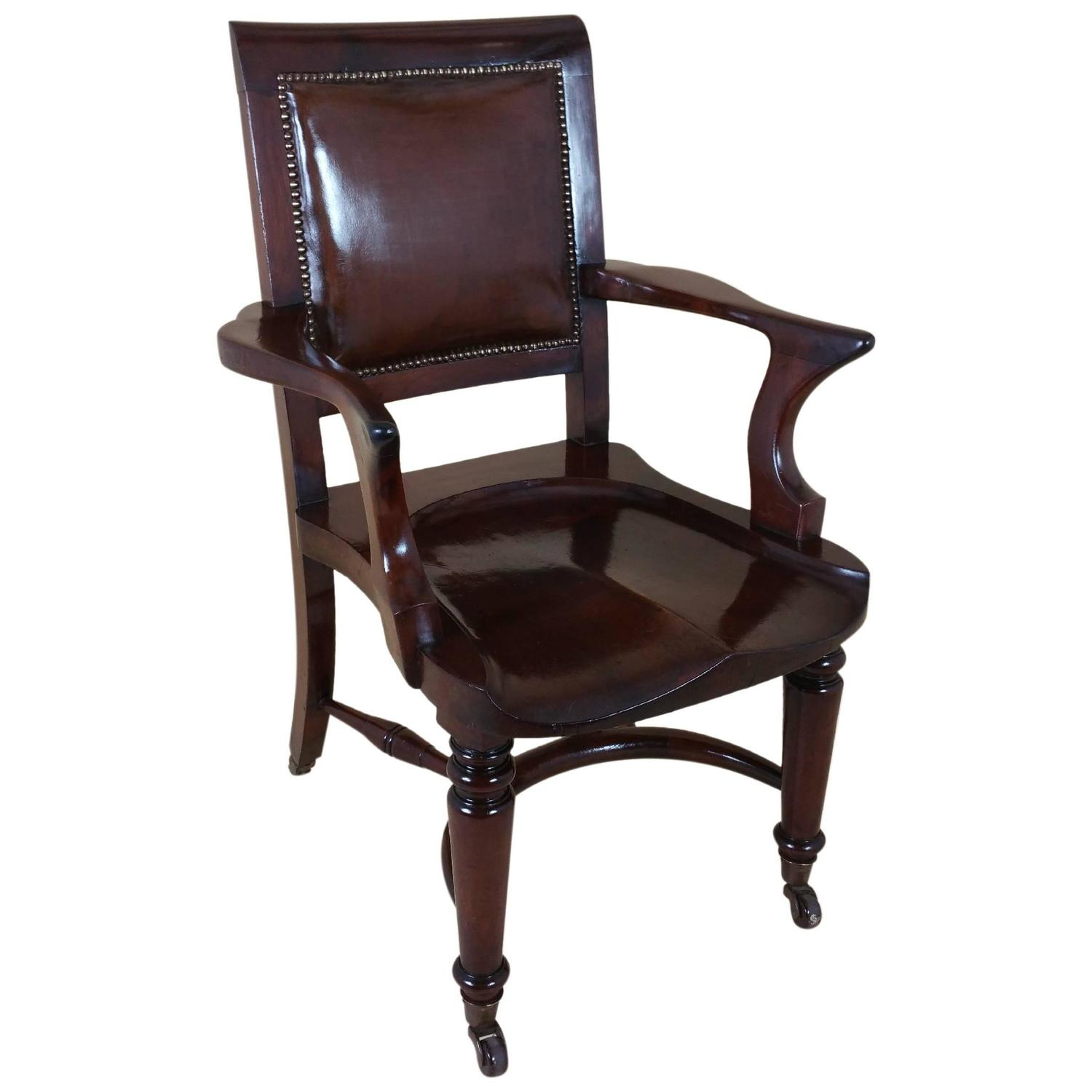 Victorian Mahogany Solid Seat Desk Chair With Leather Back