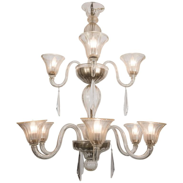 "Large Ten-Light ""Gold"" Murano Chandelier Attributed to A. V. Mazzega"