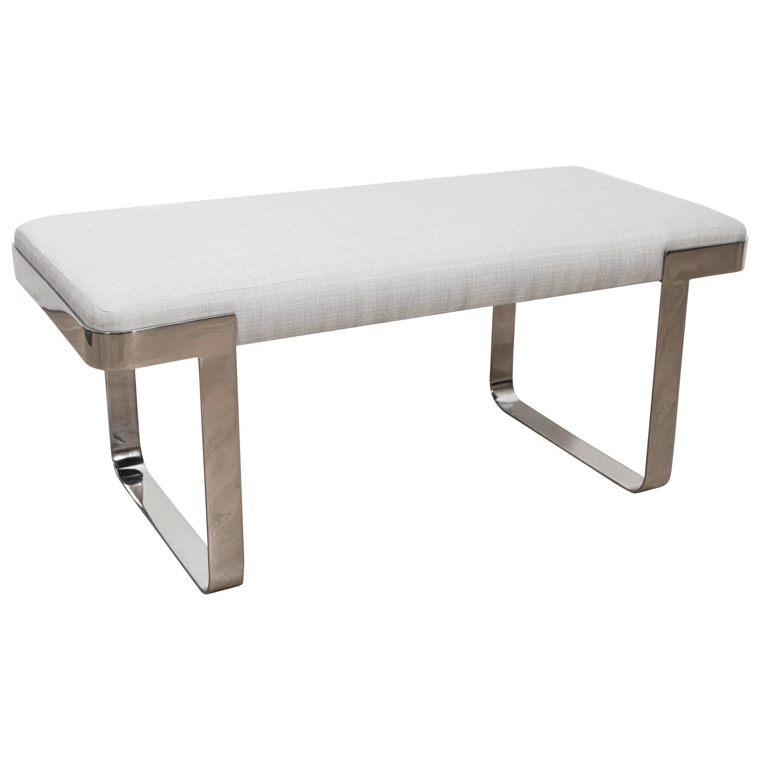 Stainless Steel Bench After Milo Baughman For Pace At 1stdibs