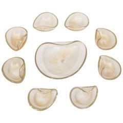 Set of Nine Murano Bowls Attributed to Salviati
