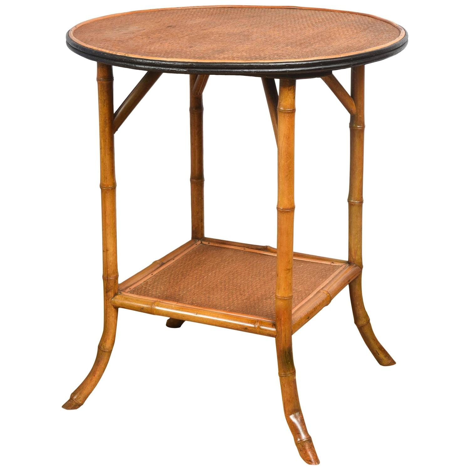 Bamboo and rattan round side table at 1stdibs for Bamboo side table