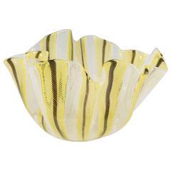 Venini Yellow and Black 'Handkerchief' Bowl