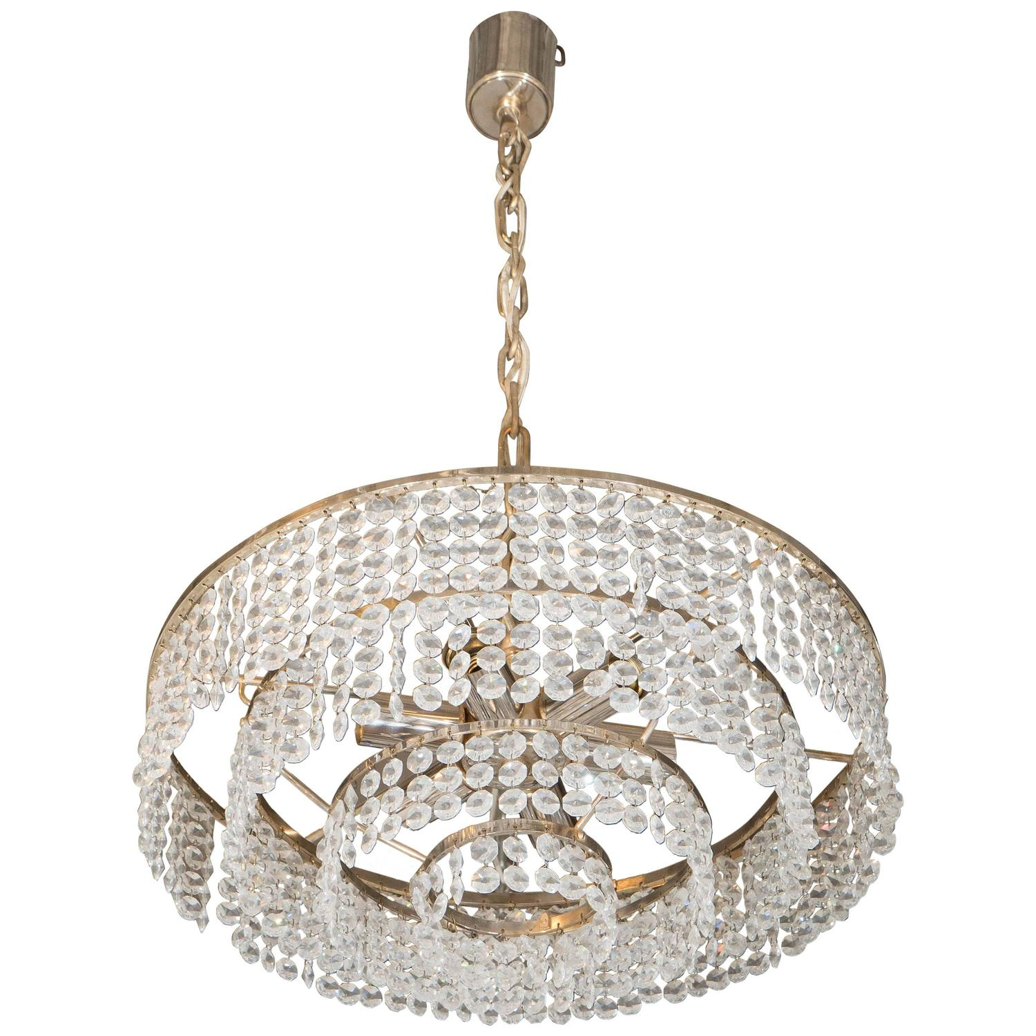 Glass Chandelier Beads: A 1960s German Four Tier Chandelier with Faceted Glass Beads and Brass  Frame at 1stdibs,Lighting