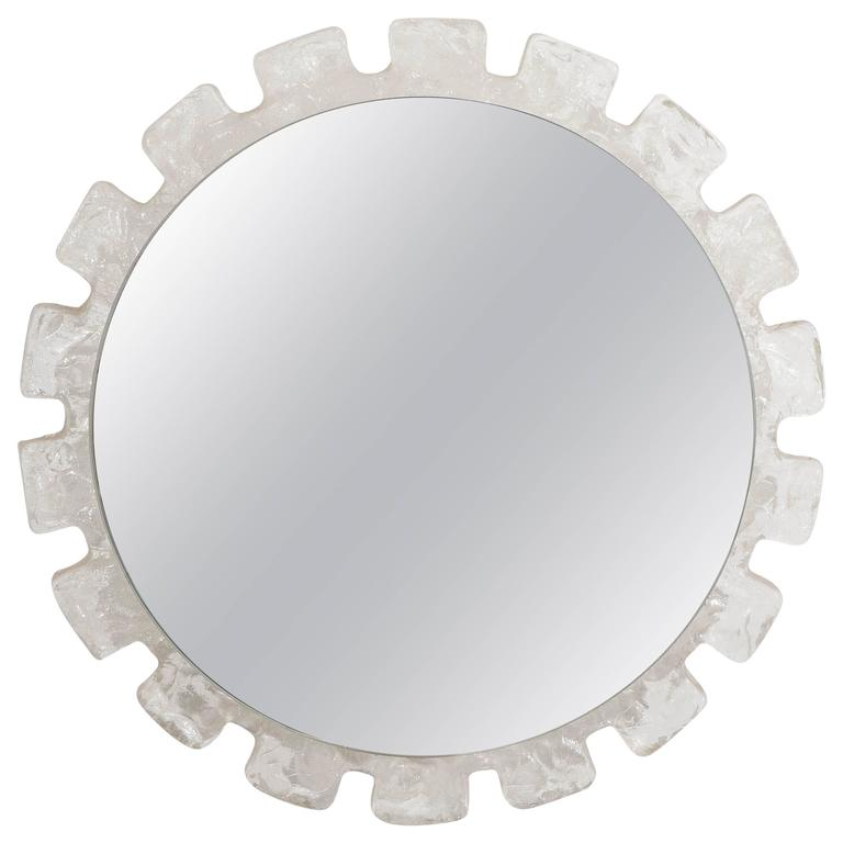 1960s Sunburst Wall Mirror with Austrian Ice Block Glass Frame
