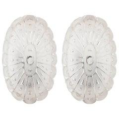 Pair of German Satin Opal Cut-Glass Oval Starburst Sconces