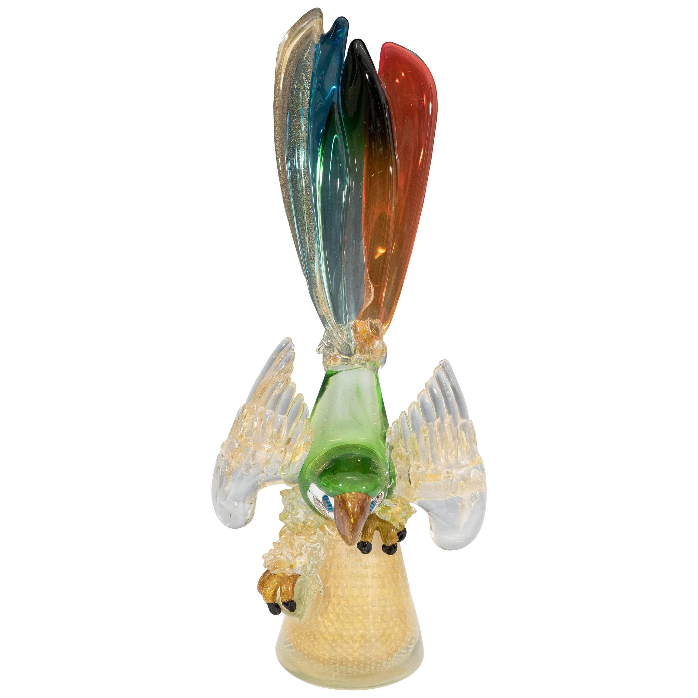 Murano Glass Sculpture of a Parrot