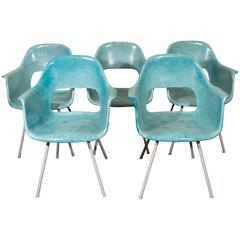Set of Five Turquoise Fiberglass Armchairs in the Style of Eames