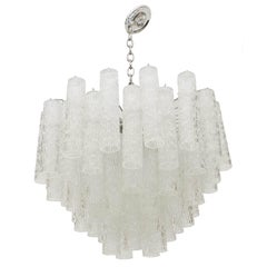 Midcentury Venini Textured Glass Tube Chandelier