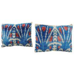 Pair of Indian Petite Indian Silk Velvet Ikat Decorative Pillows