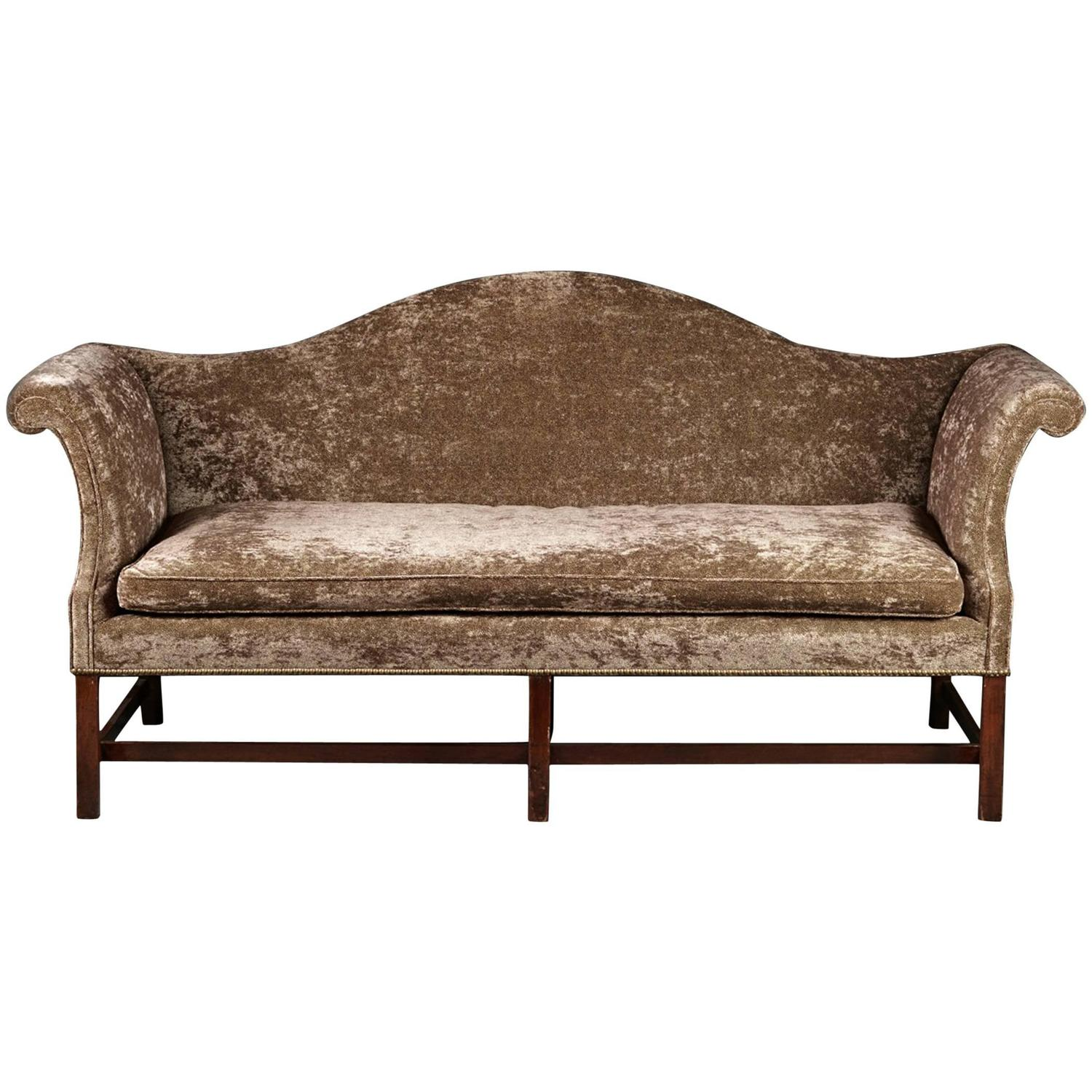 Fine 18th Century Mahogany Camelback Sofa In Modern Fabric At 1stdibs