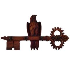 Edwardian Carved Key Form Coat Hook with Bird
