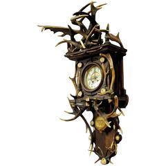 Antique Black Forest Antler Clock Regulator, 1900