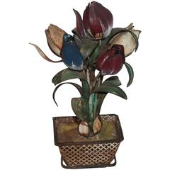 Late 19th Century Original Painted Tin Tulips in Basket Planter