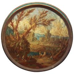 Continental Castle Landscape Oil  on Canvas Painting