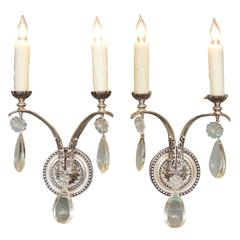 1920s Set of Four French Regency Style Silver Plated Bronze and Crystal Sconces