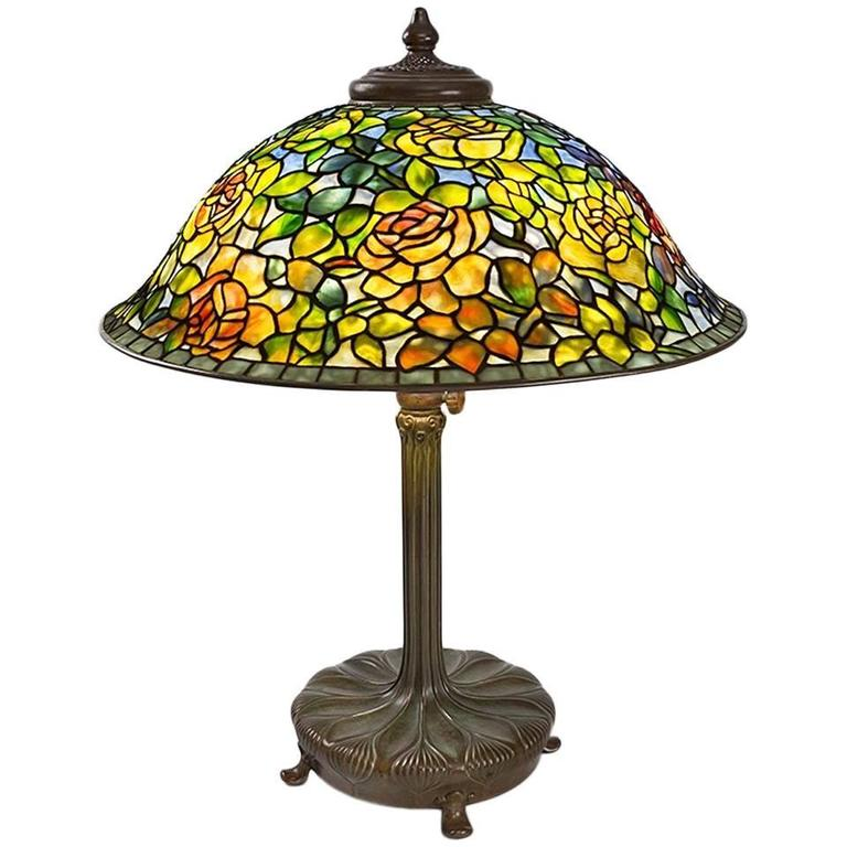 Tiffany Studios Quot Cabbage Rose Quot Table Lamp At 1stdibs