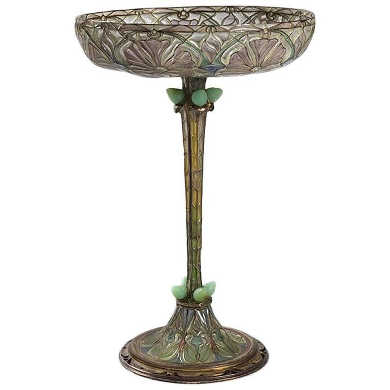 Eugène Feuillâtre French Art Nouveau Silver and Enamel Coupe D'ornement For Sale