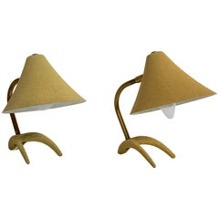 Mid Century Modern Yellow Louis Kalff Vintage Table Lamps Philips 1950s