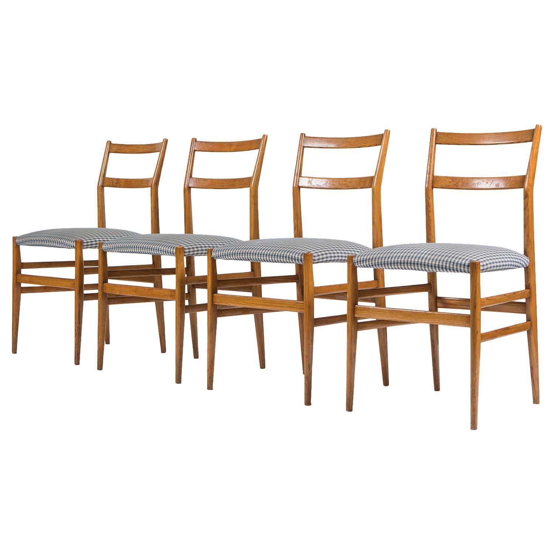 Set of four leggera dining chairs by gio ponti for - Sedia leggera gio ponti ...