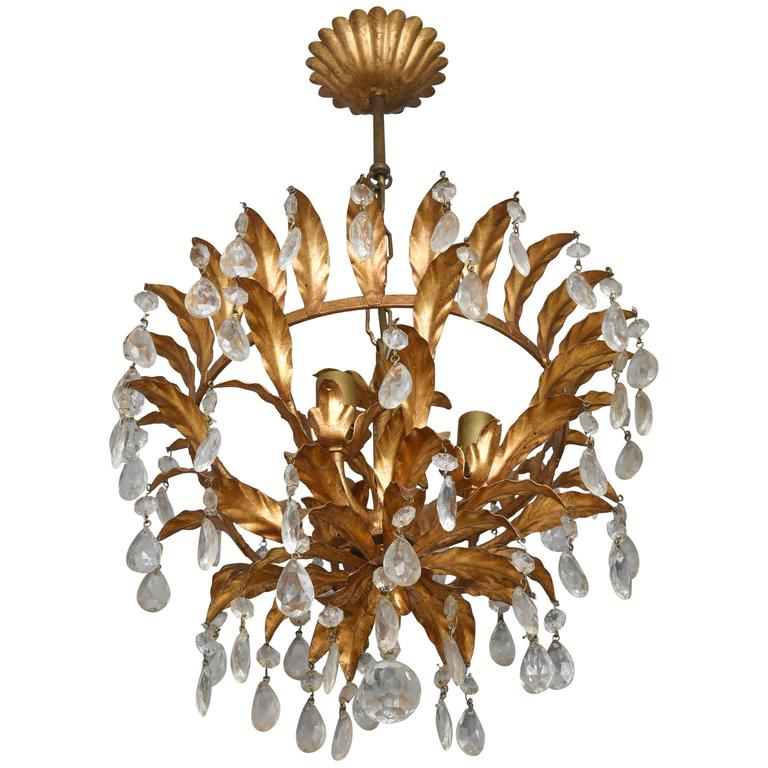 Hollywood Regency or Florentine Style Chandelier Gold with ...