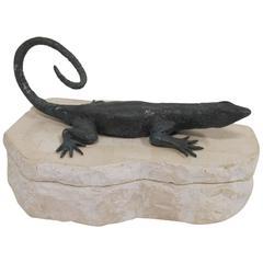 Figural Tessellated Box with Lizard
