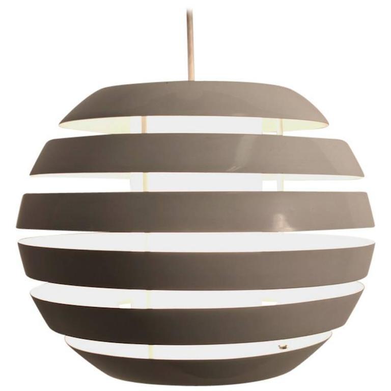 White Enameled Louvered Ball Chandelier