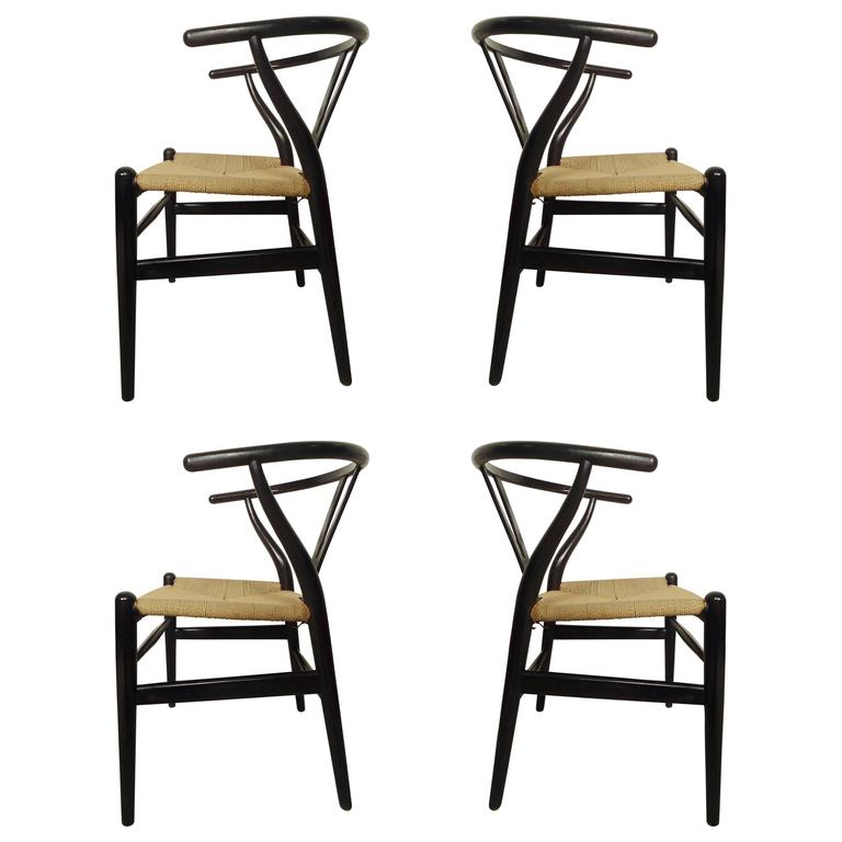 Set of Four Wegner Wishbone Chairs For Sale