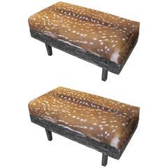 Pair of Black Cerused-Oak Deer Hide Upholstered Benches