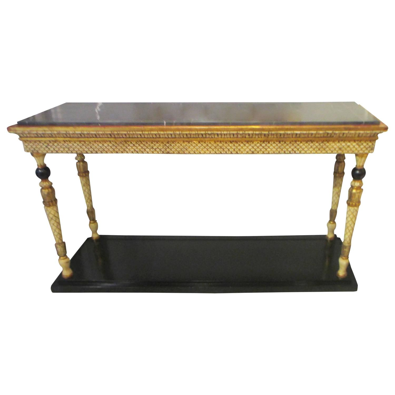 Unique maison jansen signed marble top console for sale at for Unique console tables for sale