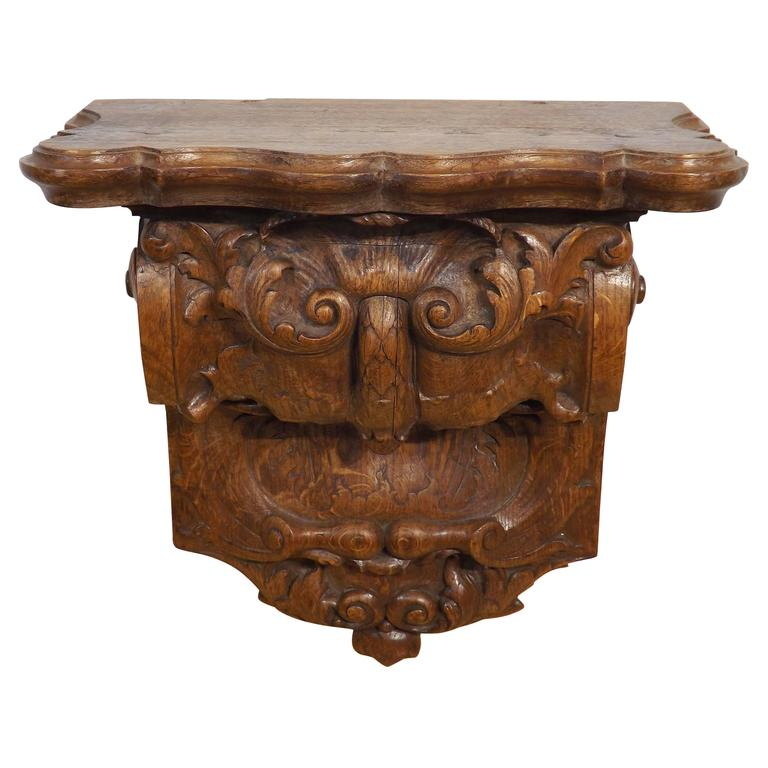Heavily Carved 18th Century Baroque Wall Bracket or Console