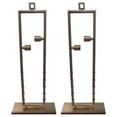 Pair of Tall Faux Bamboo Brass Lamps
