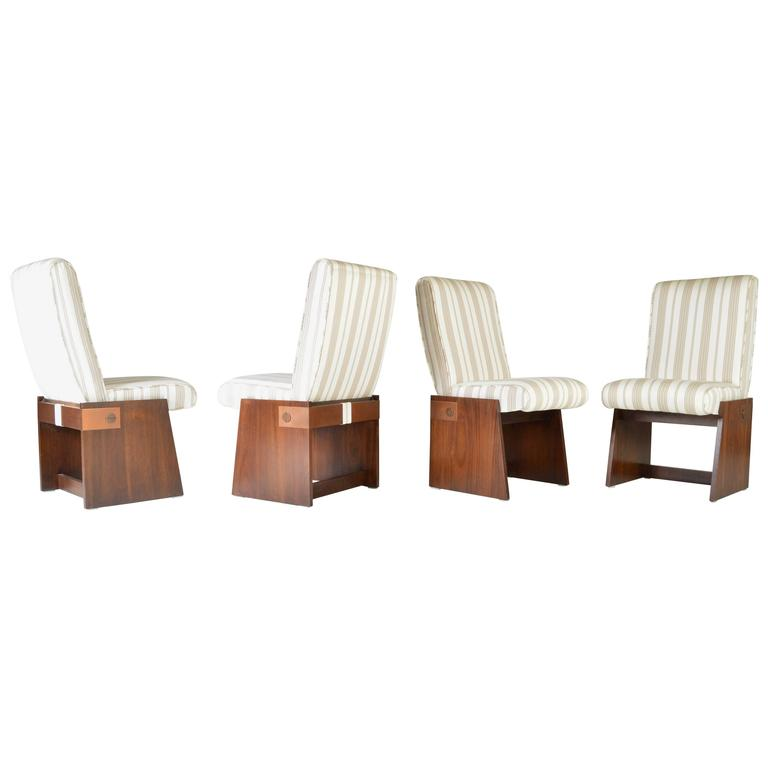 Lane Brutalist Dining Chairs In The Manner Of Paul Evans