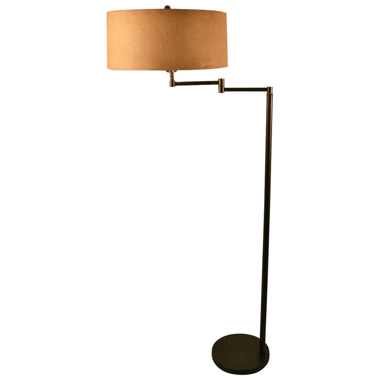 English brass swing arm library floor lamp for sale at 1stdibs brass swing arm floor lamp aloadofball Image collections