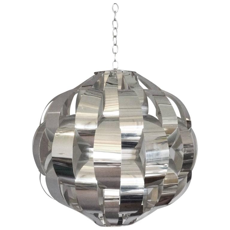 Large Woven Chrome Hanging Pendant Entry Lamp For Sale