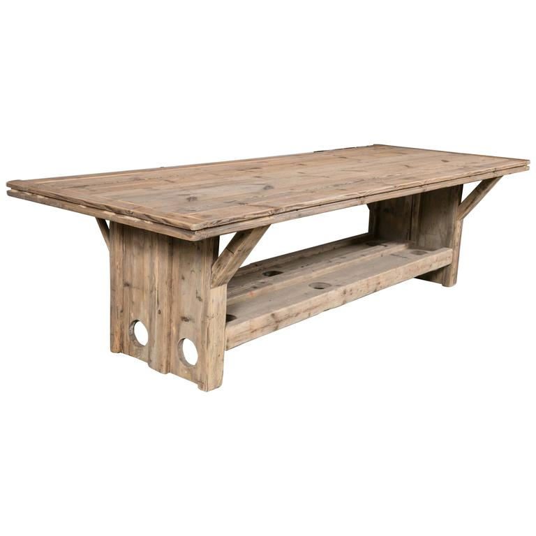 Trestle Base Harvest Table For Sale