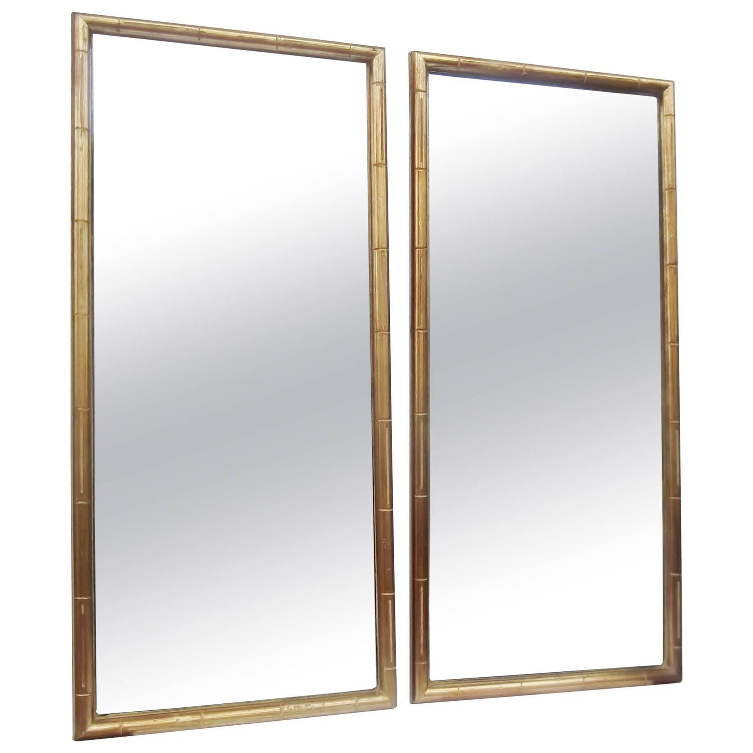 Pair of Simplistic Faux Bamboo-Framed Mirrors For Sale at 1stdibs
