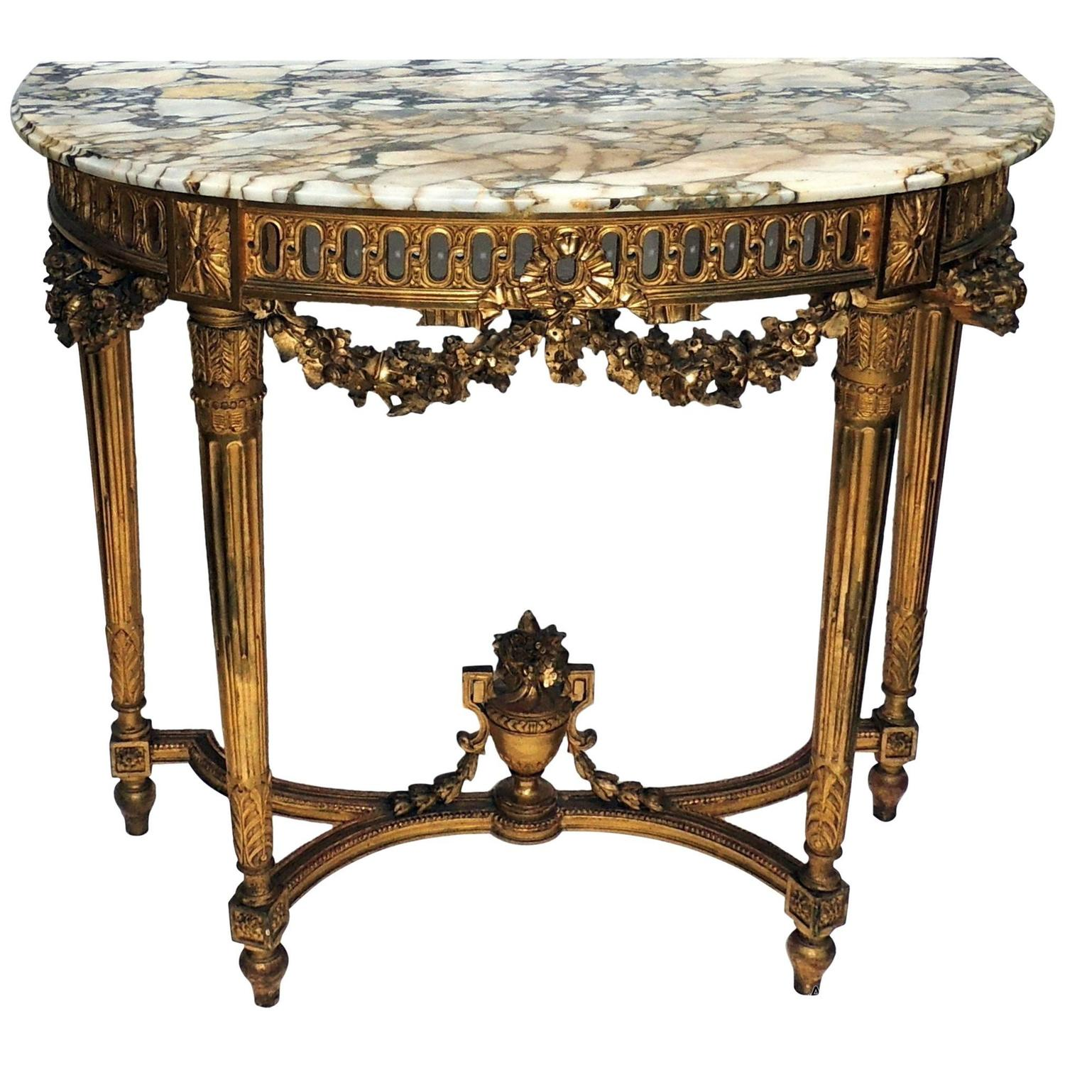 Wonderful French Marble Top Giltwood Carved Demilune Urn Swag Console Table  At 1stdibs