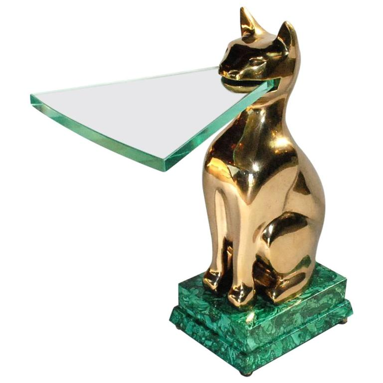 Elegant 1984 Malachite and Bronze Side Table Signed by Lawrence Levine