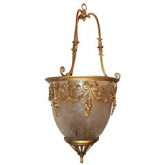 Wonderful French Bow Gilt Doré Bronze and Frosted Art Glass Chandelier Lantern