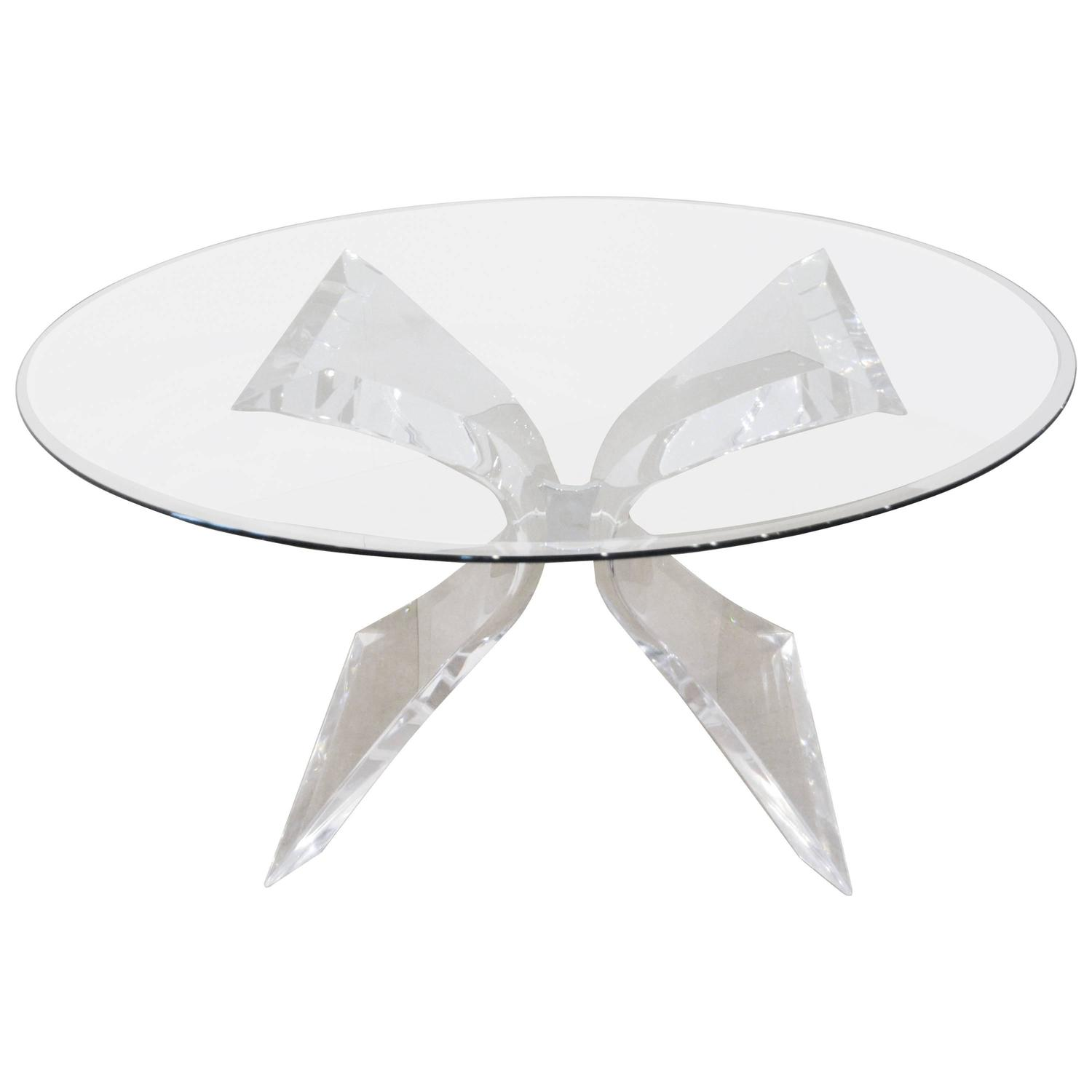 Lion In Frost Butterfly Lucite And Glass Dining Table At 1stdibs