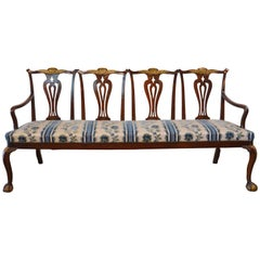 Chippendale Style Mahogany Four-Seat Back Settee