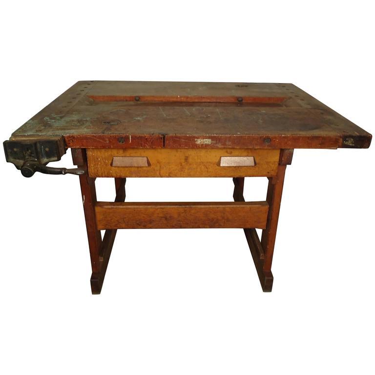 Vintage Carpenter Work Table at 1stdibs